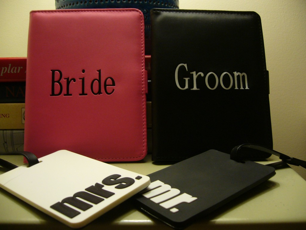bride and groom travel tags