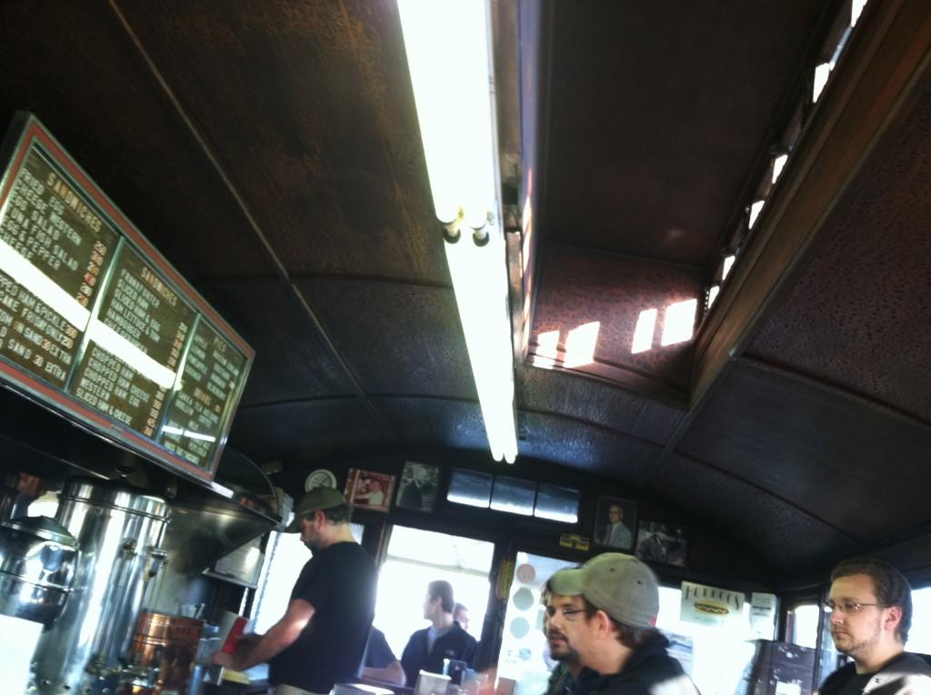 Inside Casey's Diner in Natick, MA